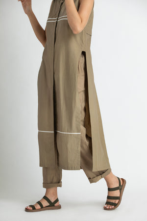 High Slit Sleeveless Shirt co-ord- Sage