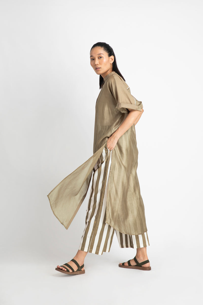 Long Dolman Sleeve Shirt Co-ord-Sage