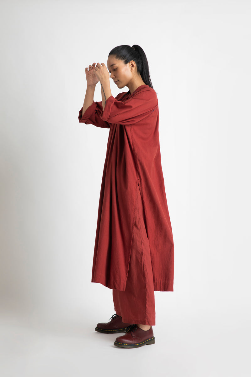 Gather Neck Co-ord- Madder Red