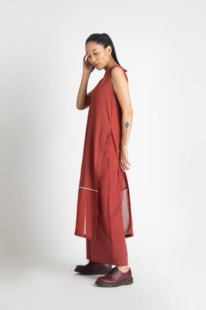 High Slit Sleeveless Tunic Co-ord- Madder Red
