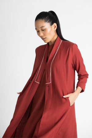 Wrap Collar Co-ord (Set of 3)- Madder Red
