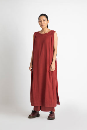 Two Pleat Dress- Madder Red