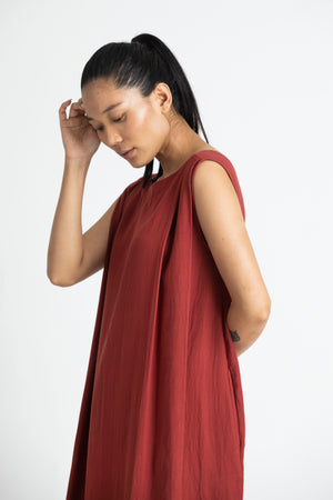 Two Pleat Dress Co-ord- Madder Red