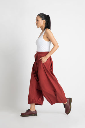 Drop Crotch Trouser- Madder Red