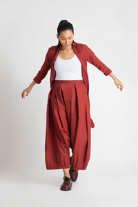 Wrap Collar Overlay Co-ord-Madder Red