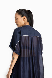 Long Dolman Sleeve Shirt- Navy