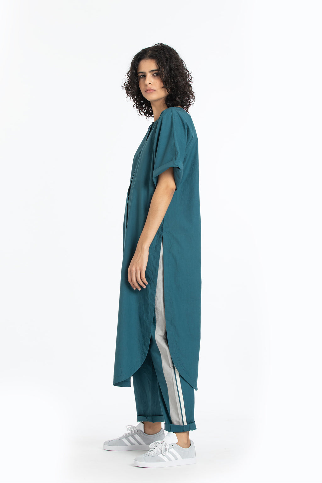 U shaped hem tunic-Teal