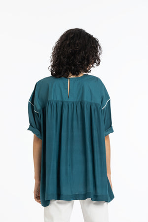 Back gather top-Teal