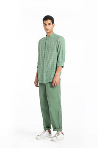 Band Collar Shirt Co-ord- Fern Check