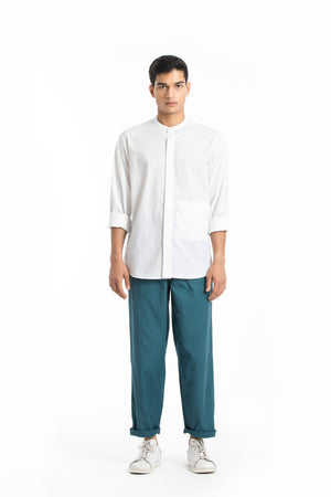 Front Pocket Shirt Co-ord- White