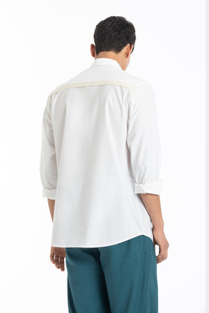 Flap Pocket Shirt Co-ord- White