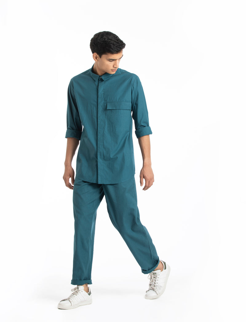 Flap pocket Shirt- Teal