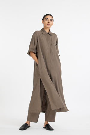 Flap Pocket Shirt Co ord-Terra