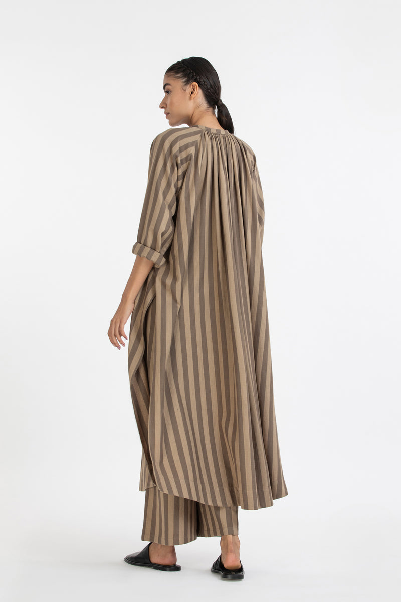 Gather Neck Shirt Co-ord- Terra-Stripe