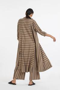 Panel Slit Shirt Co-ord-Terra stripe