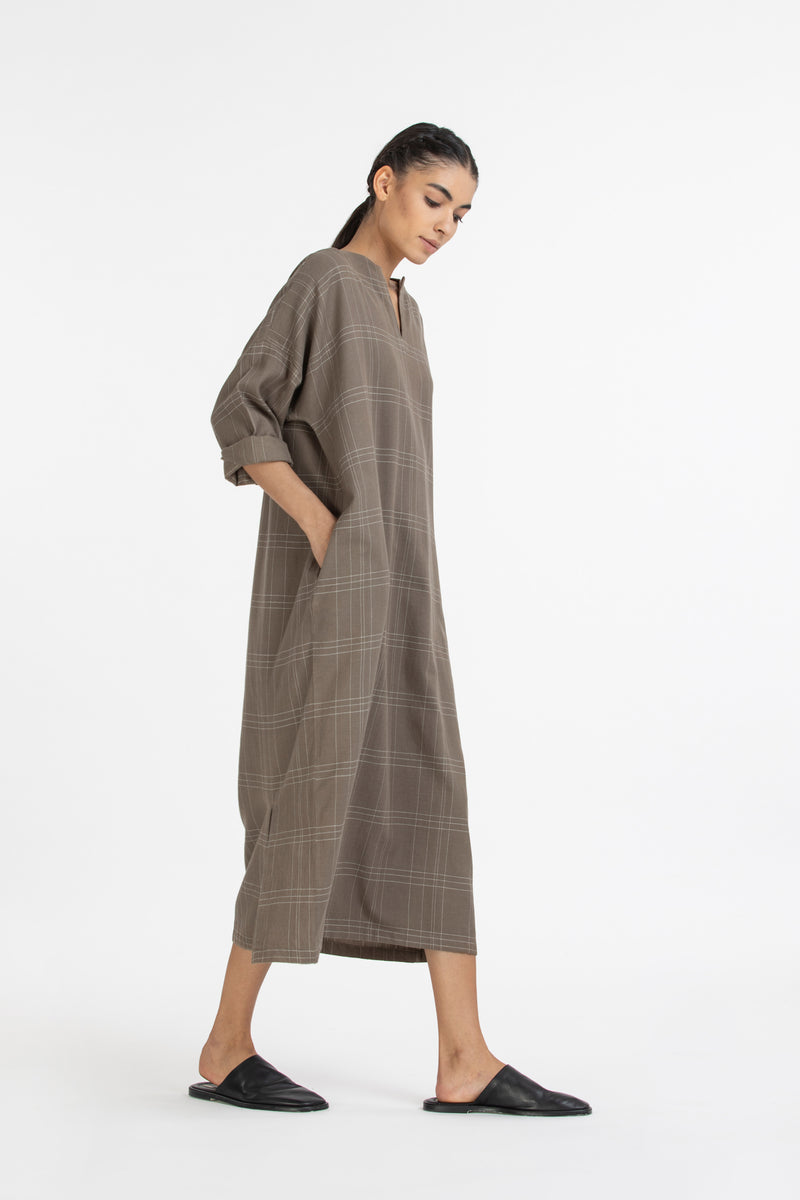 Back Slit Dress- Terra check
