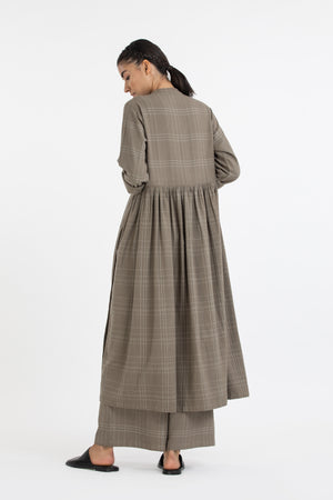 Back Gather Jacket co-ord- Terra check