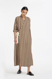 Pintuck Side Knot Dress- Terra stripe