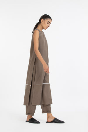High Slit Sleeveless Tunic- Terra