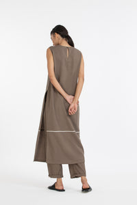 HIgh Slit Sleeveless Tunic co-ord-Terra