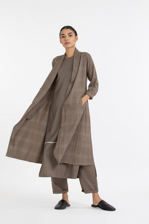 Wrap Collar Overlay Co ord- Terra Check
