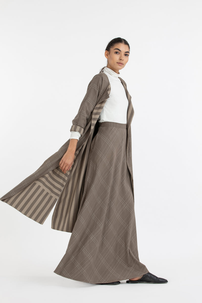Circular Skirt Co ord-Terra Check