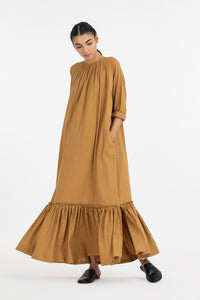 Bottom Frill Dress- Mustard