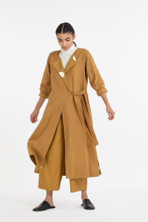 Wide pant co ord-Mustard