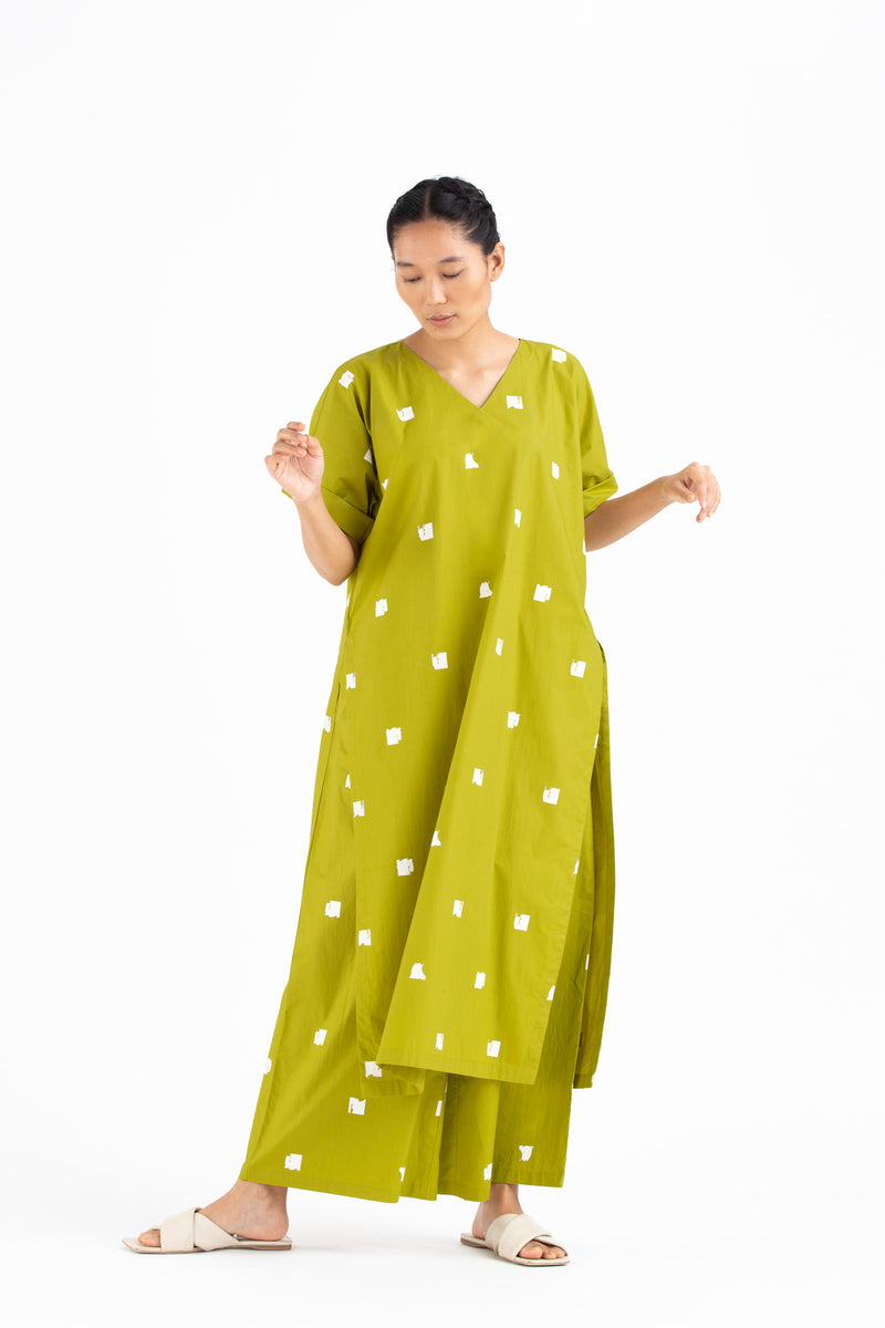 V Neck Kaftan- Lime