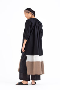 Panel Gather Neck Shirt- Black