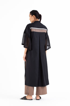 Frill Sleeve Overlay Co-ord-Black
