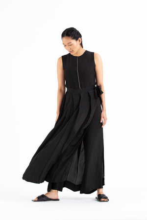 Round Neck Top Co-ord-Black