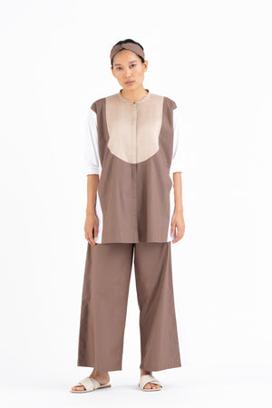 Panel Shirt Co-ord- Cedar/White