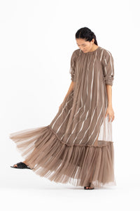 Bottom Frill Dress -Cedar Inside Slip Included