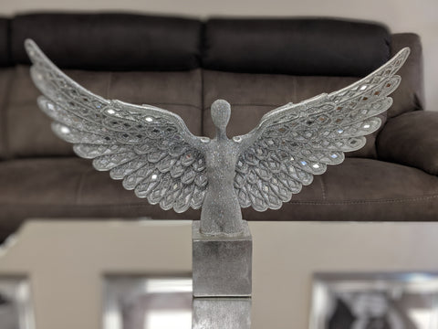 Silver Studded Mosaic Angel Bust Ornament - NY066
