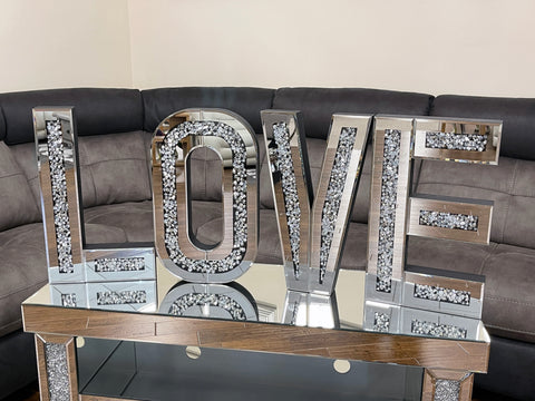 Mirrored Crushed Diamante Large LOVE Letter Wall Decor - AC003