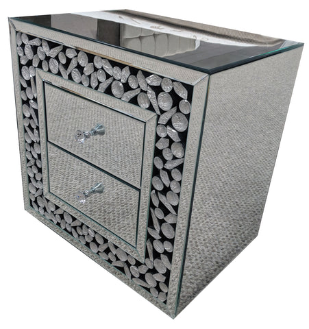 Moon Crystal Mirrored 2 Drawer Chest of Drawers - AM006