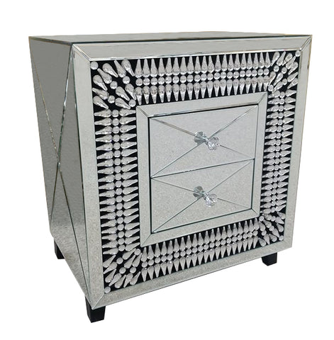 Tear Drop Crystal 2 Drawer Chest of Drawers - AM006