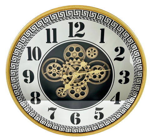 Brass Effect Mirrored Skeleton Wall Clock - 59cm - CA027