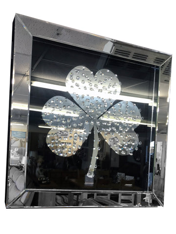 Black Irish Shamrock Floating Crystal Wall Mirror - CD076
