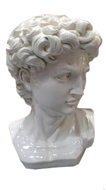 Large White Bust of David Ornament - FL003