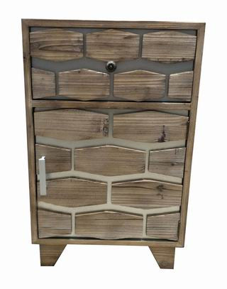 Drift Wood Honeycomb One Door One Drawer Side Table - FY005