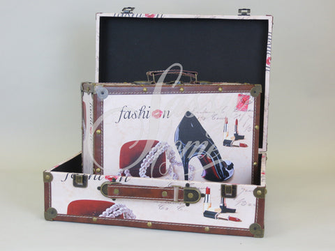 Fashion Set of 2 Trunk Case Storage Boxes