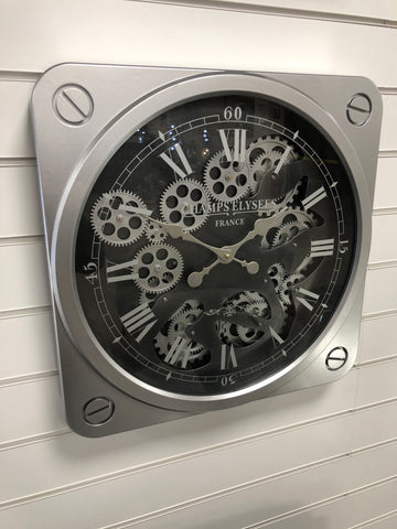 Silver & Black Square Skeleton Clock - 49.5cm - CA021