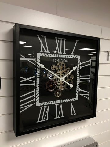 Silver & Black Square Skeleton Clock - 56cm - CA025