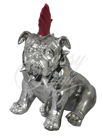 Silver Electroplated Bulldog with Red Mohawk Ornament - JG017