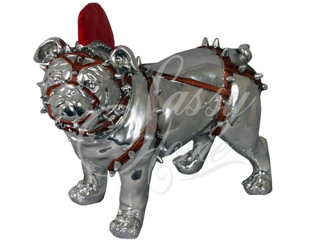 Silver Electroplated Standing Bulldog with Red Mohawk Ornament - JG018