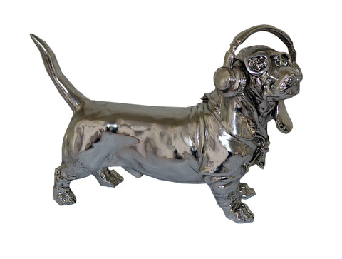 Silver Electroplated Sausage Dog with Headphones & Glasses Ornament - JG021