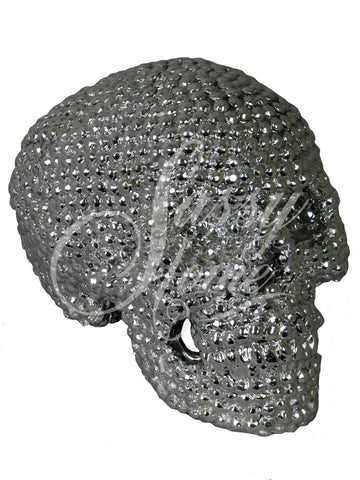 Silver Electroplated Rounded Stud Skull Ornament - JG024