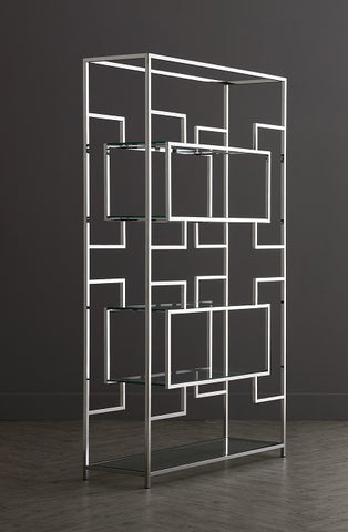 Stainless Steel Silver & Clear Glass Geometric Shelving Unit - KM001